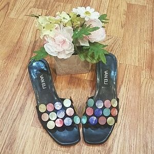 Vintage 90's Italian Leather Funky Button Sandals